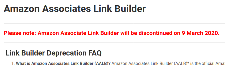 Amazon Associate Link Builder will be discontinued on 9 March 2020