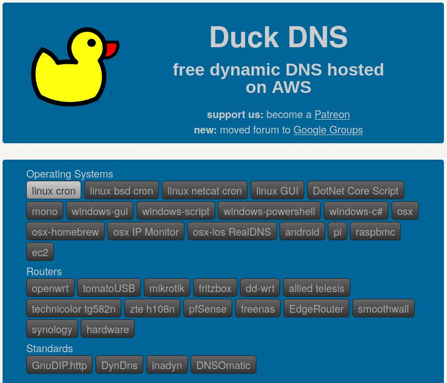 Duck DNS runs on basically every operating system