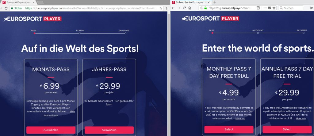 If you want to save on Eurosport, a VPN might help ...