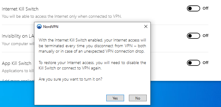 Kill switch – Internet access will be terminated if the VPN connection drops