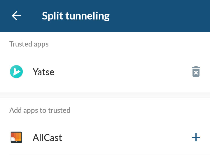 Configure exceptions with split tunneling