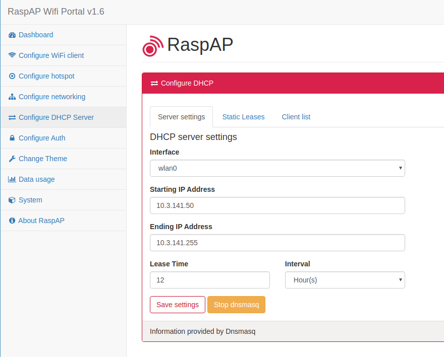 Configure the DHCP server of RaspAP