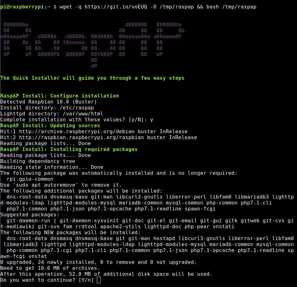 Install RaspAP with wget