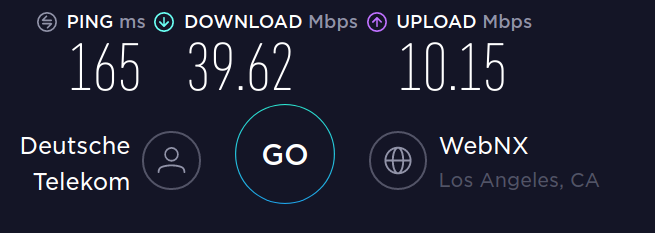 Speed test to Los Angeles with no VPN