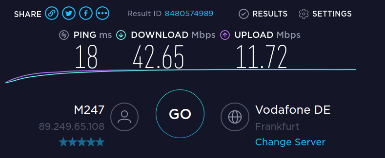 Speedtest with no VPN activated