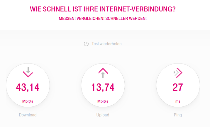 Speed test T-Online no VPN