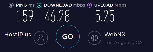 Speedtest WireGuard / NordLynx to LA