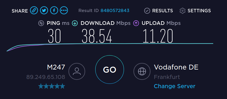 Speedtest with NordLynx / WireGuard