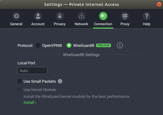 PIA client: If the Linux kernel module of WireGuard is not installed, the software advises to do so