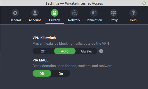 Privacy – killswitch and MACE