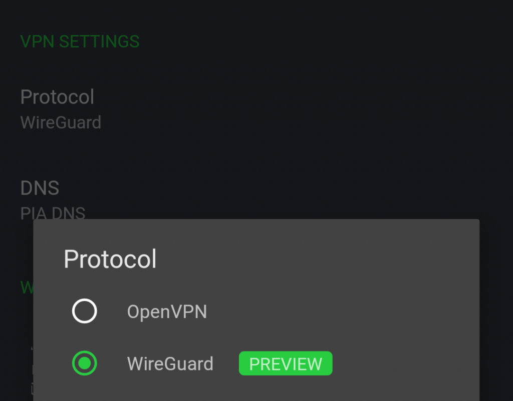 PIA Android client with WireGuard