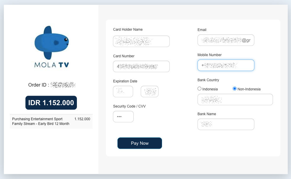 You can pay Mola.tv with credit card